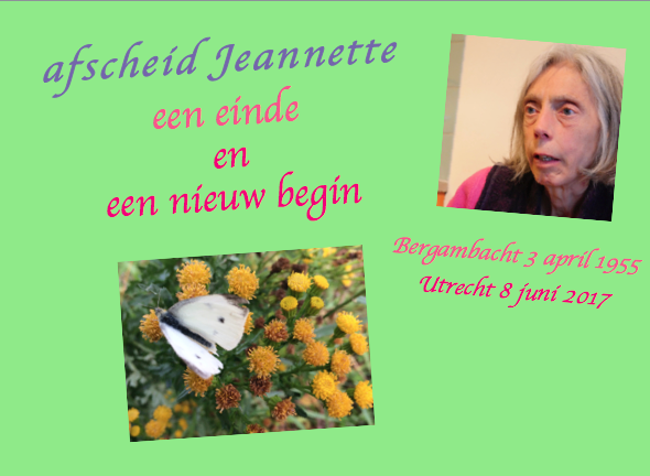 part of the front of the book 'afscheid Jeannette, een einde en een nieuw begin' (Jeannette's goodbye, an end and a new beginning) written by Leonoor
