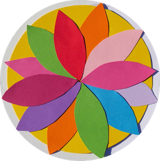 flower with 12 flower petals, selfmade, coloured paper cut with scissors