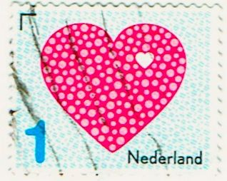 stamp with heart with white border