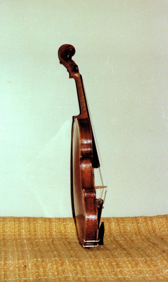 photo from the side of Leonoor's violin